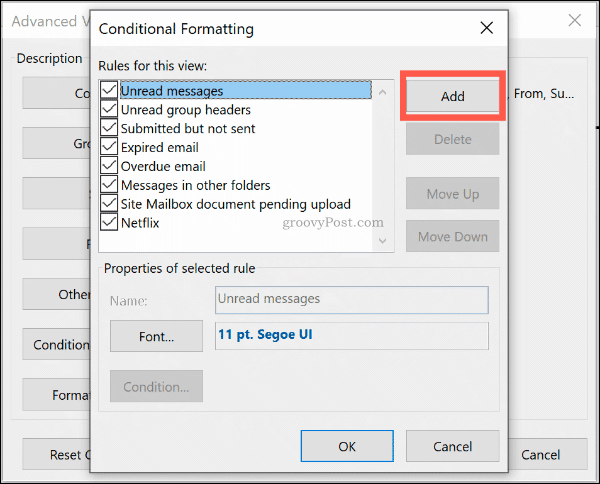 Click Add to add a new conditional format rule in Outlook