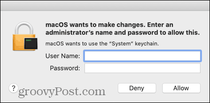 Enter the credentials for your administrative Mac account