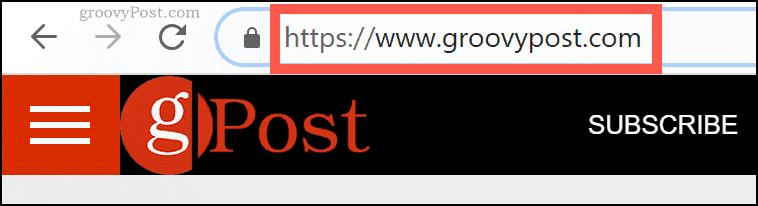 The groovyPost.com domain name in Chrome URL bar