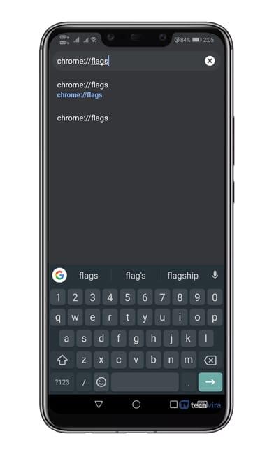 Open'Chrome://flags'