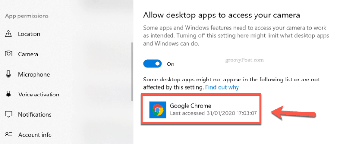 A list of desktop apps with camera access on Windows 10