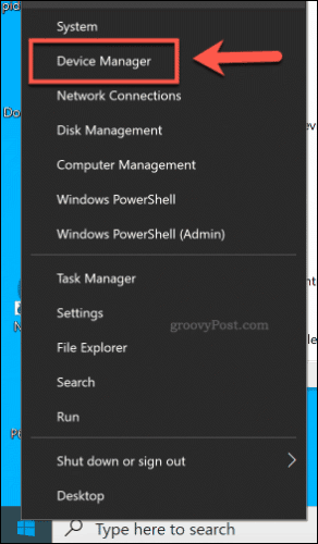 Accessing the Device Manager from the Start menu on Windows 10