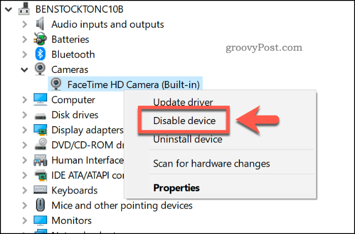 Disabling a device in the Windows 10 Device Manager