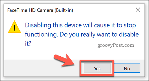 Confirming a device being disabled in the Device Manager on Windows 10