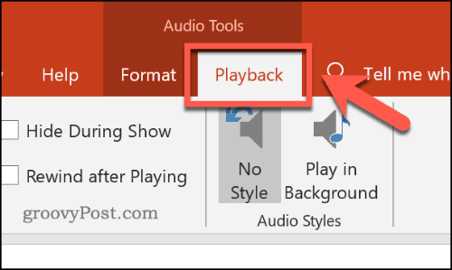 The audio playback menu in PowerPoint