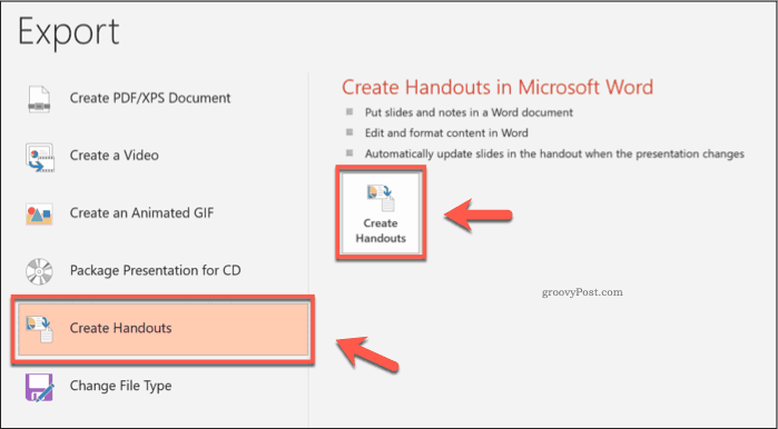 The Create Handouts button in PowerPoint
