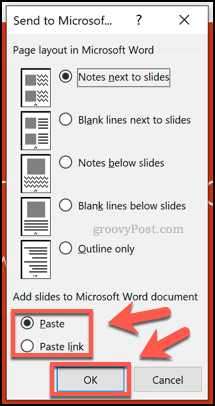 Formatting options for handouts in PowerPoint