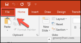 The File tab in PowerPoint