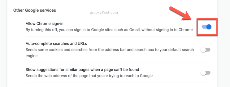 The Chrome Allow Google sign ins slider