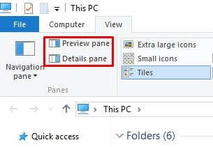 Disable'Preview Pane' and'Details Pane'
