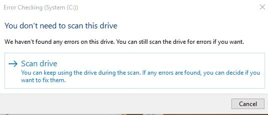 Click on the Scan drive option