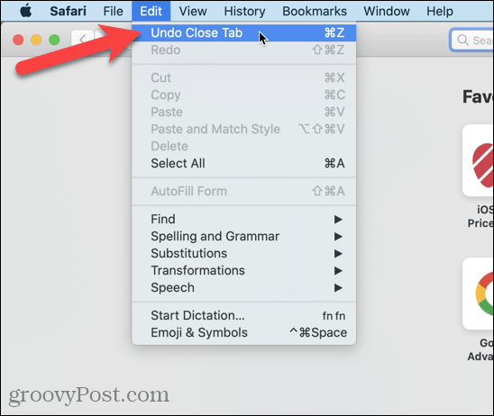 "Go to Edit> Undo Close Tab in Safari"" width=""548″ height=""462″  /></noscript></p> <p>You can also go to <strong>History > Reopen Last Closed Tab</strong> or press <strong>Shift + Command + T</strong>.</p> <p><noscript><img class="