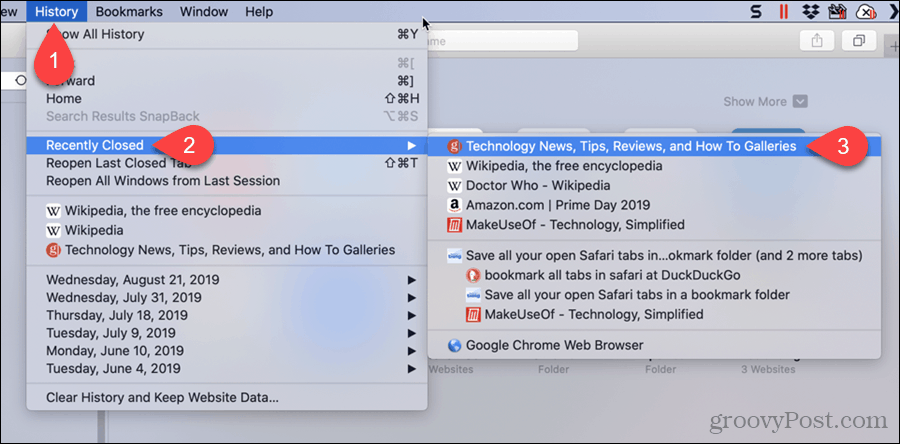 Select a Recently Closed Tab in Safari