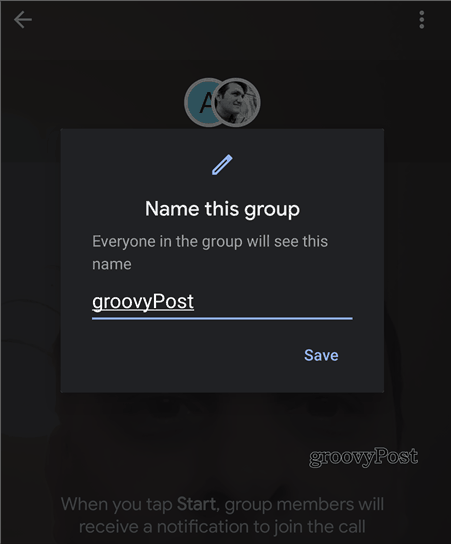 Google Duo group name