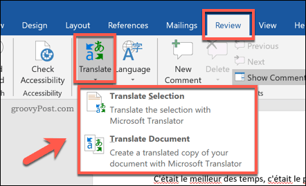 Options for translating a Word document
