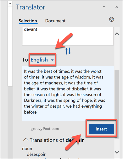 Translate selection options in Word