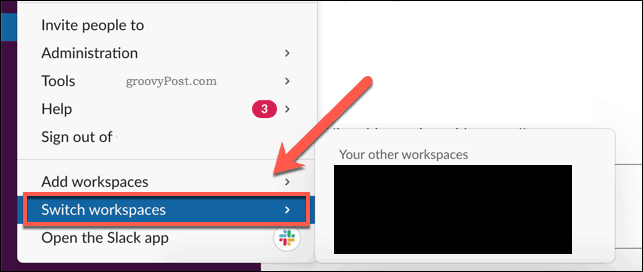 Switching workspaces in Slack