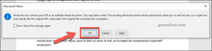 Converting a PDF in Word