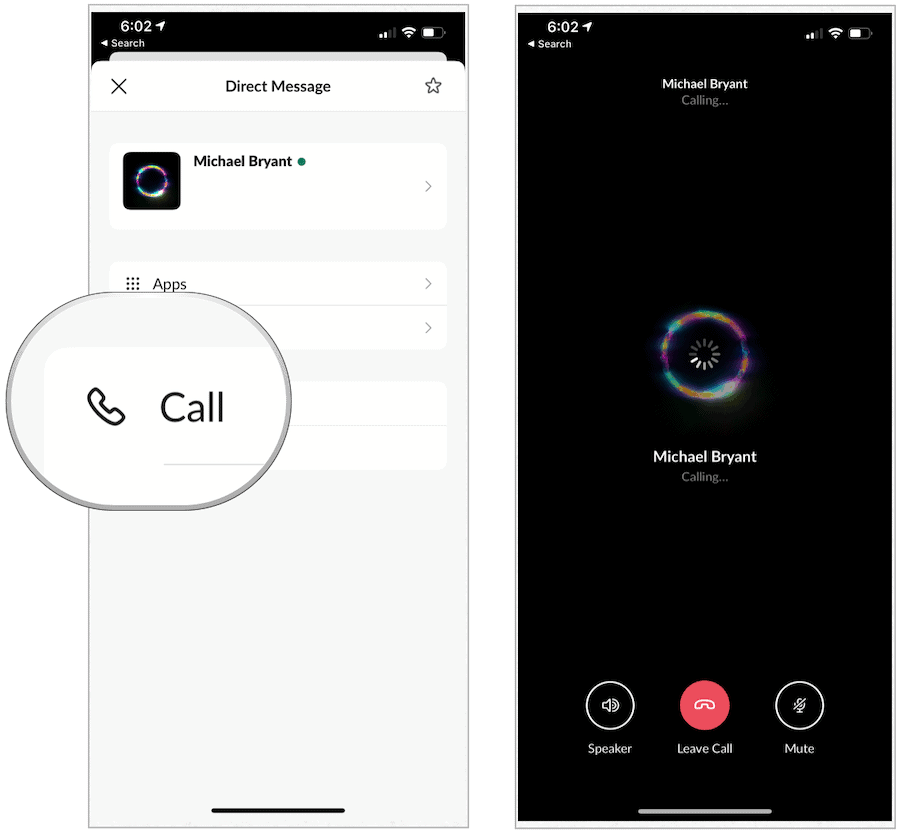 Slack make calls on mobile