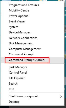 Select'Command Prompt (Admin)'