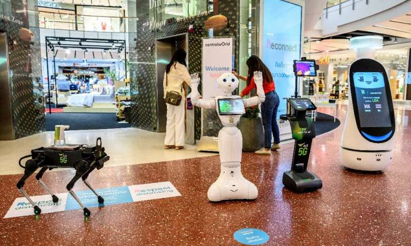 Various robotic devices have been deployed by a Thai mobile operator to teach people about coronavirus precautions