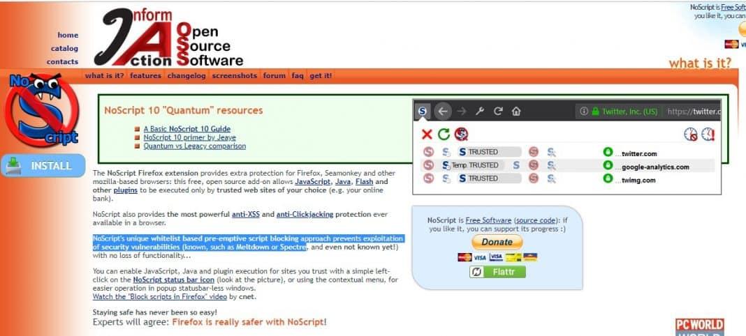 Using NoScript Full Security Suite
