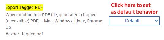 Screenshot of Chrome Tagged PDF Setting