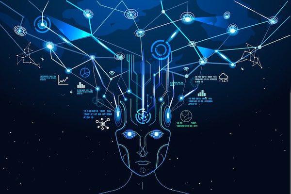 Illustration of AI resembling the human brain.