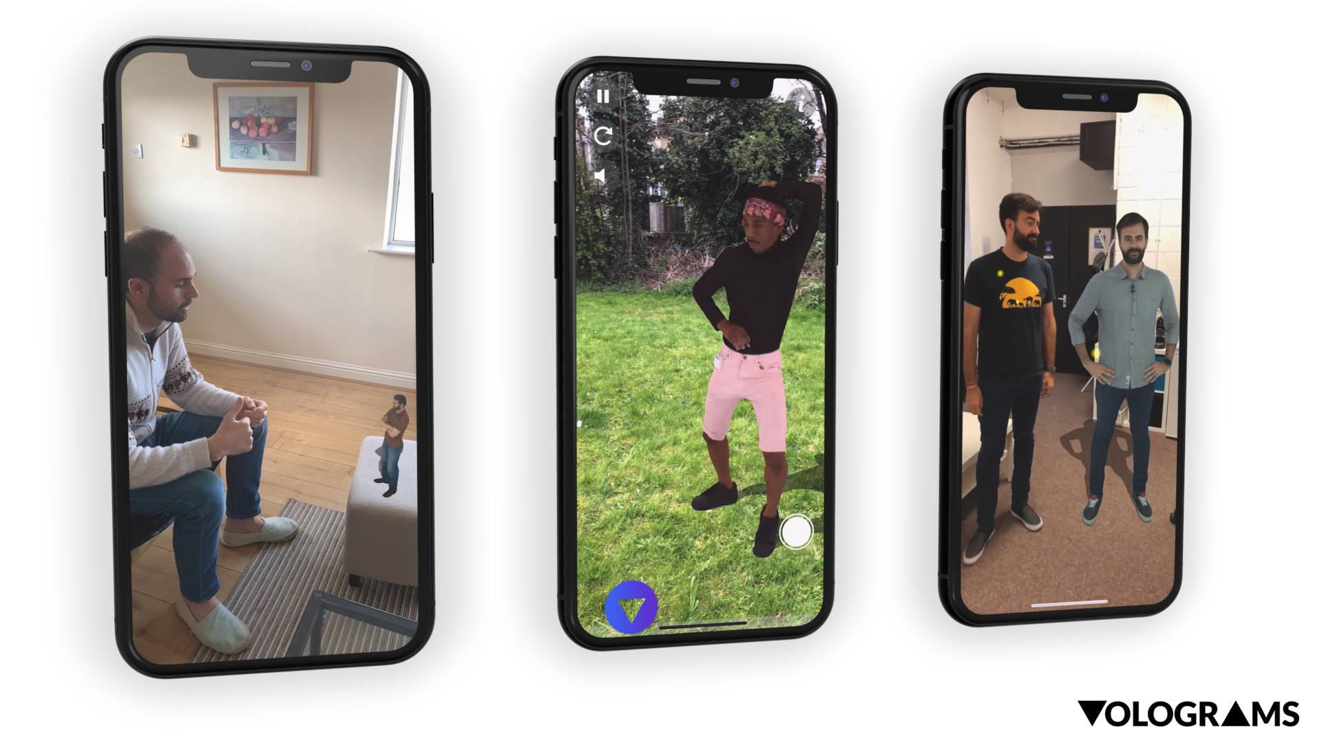 Three iPhone screens displaying Volograms of people inserted into different scenarios.