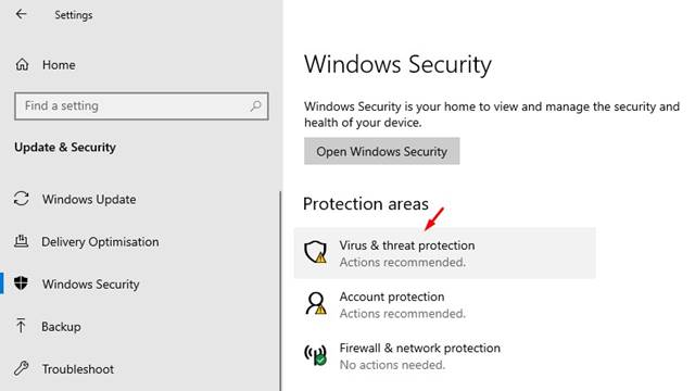 Click on the'Virus & threat protection'
