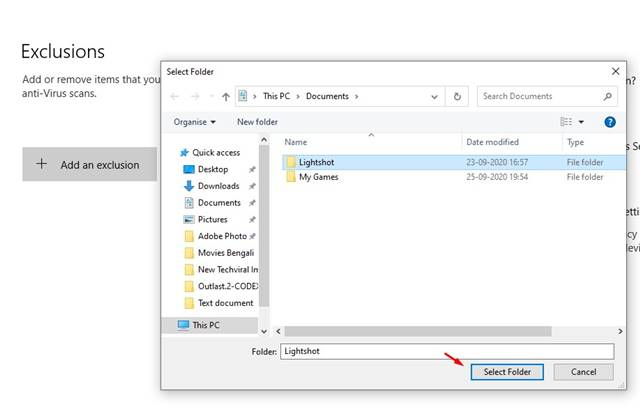 Locate the file % folder