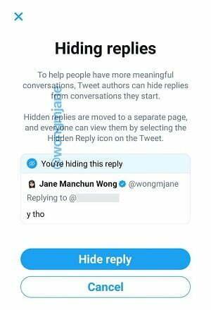 Twitter hide replies
