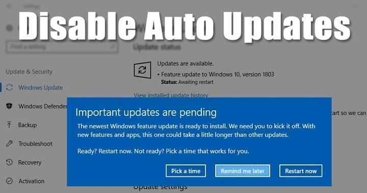 How to Disable Windows 10 Updates by Registry Editor