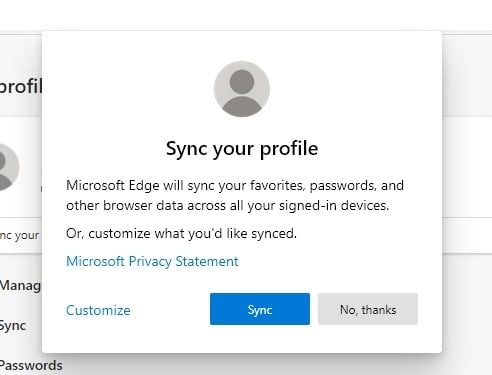 Edge Bookmarks Sync Status