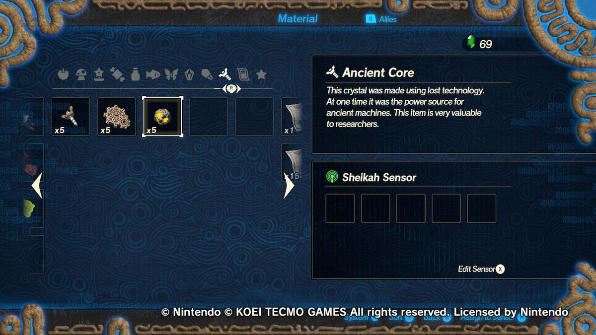 The materials menu in Hyrule Warriors: Age of Calamity