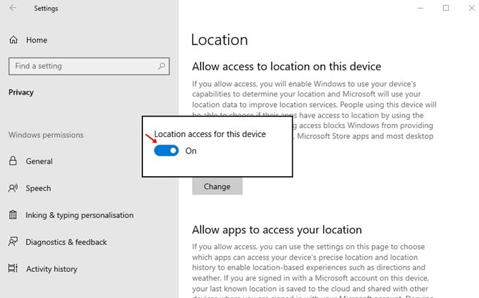 use the toggle button to disable the location service