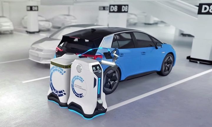 Volkswagen mobile robot to automate charging