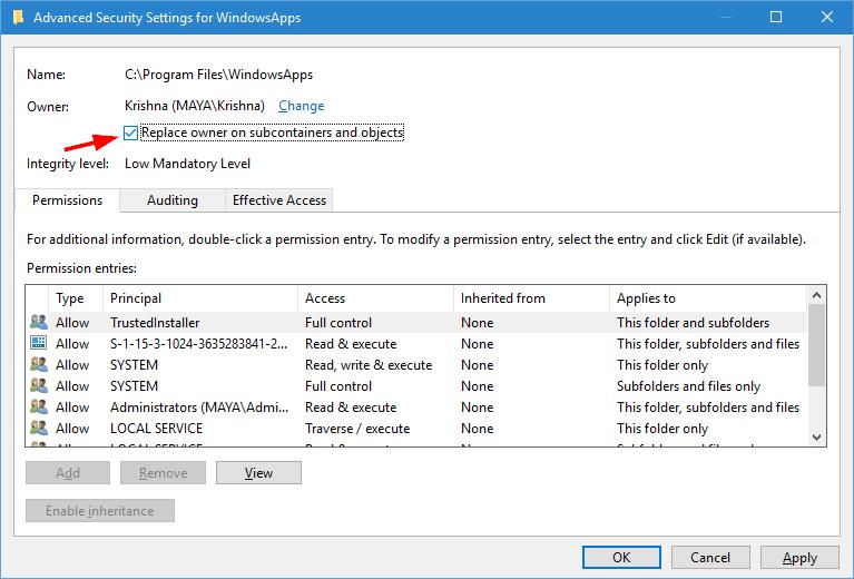 windowsapps-folder-apply-permission-changes