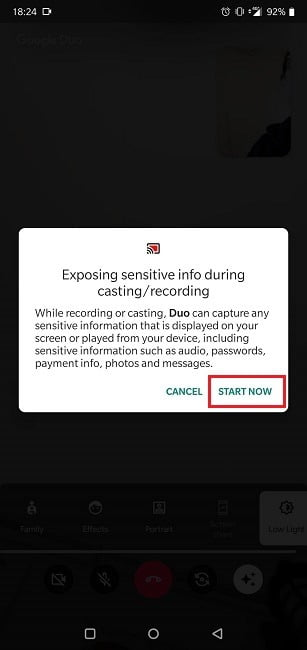 How To Google Duo Screen Sharing Warning Message