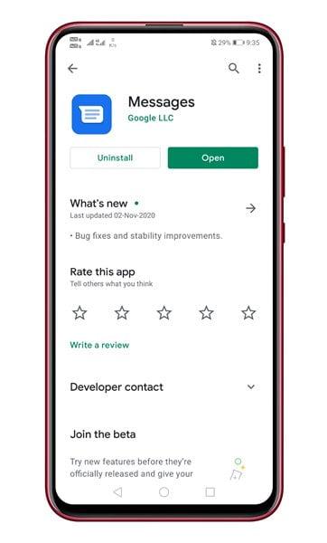 launch the Google Messages app