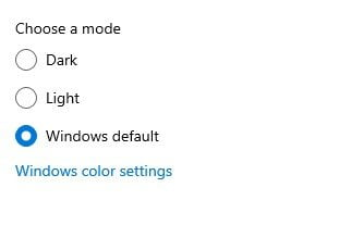 select the color mode