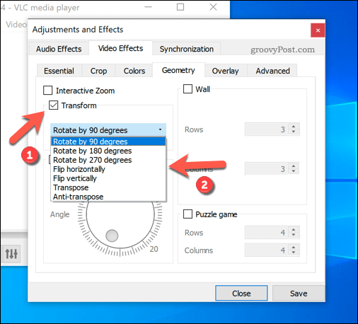 Setting preset rotations in VLC on Windows