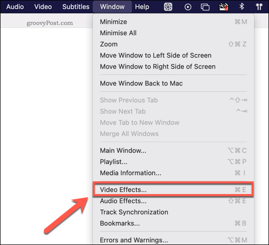 Accessing the VLC video effects menu on Mac