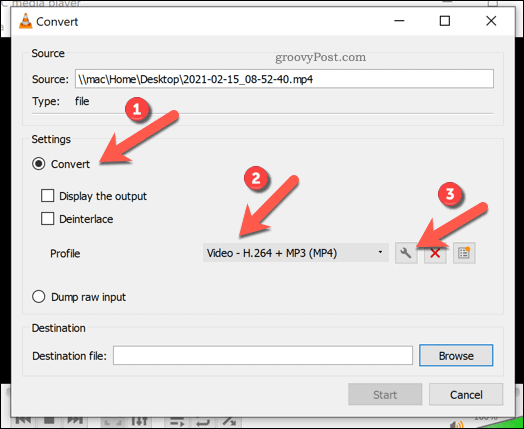 Setting conversion settings in VLC on Windows