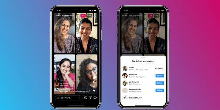 Instagram live rooms allows four users to go live together