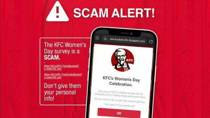 KFC Scam Malaysia, Survey link to steal personal data