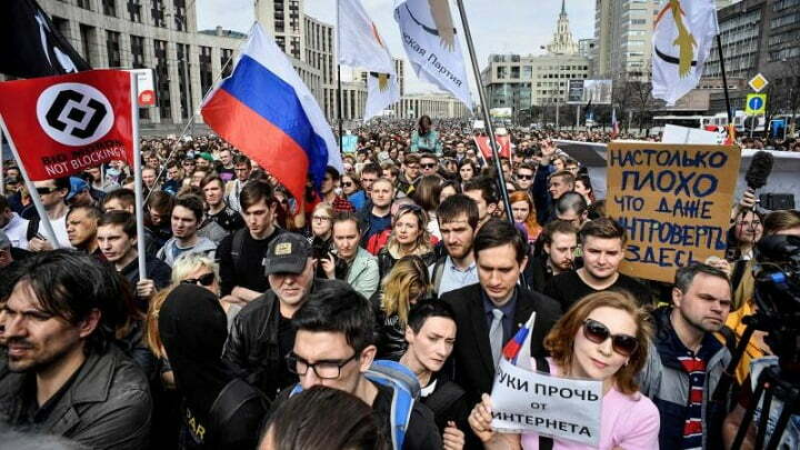 Russia fines TikTok for asking minors to join protests