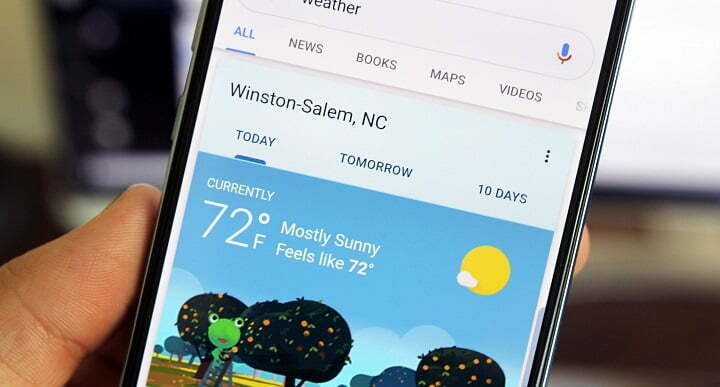 Google Weather app 'Material You' design theme on Android
